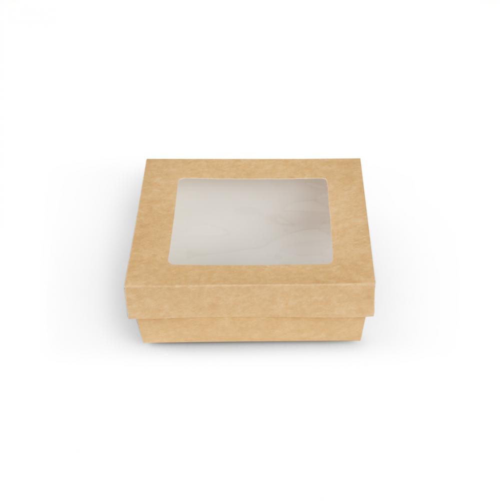 Scatole kray per sushi e dolci con finestra colore avana - ingrosso b2b online vendita per professionisti - 155x155x50mm