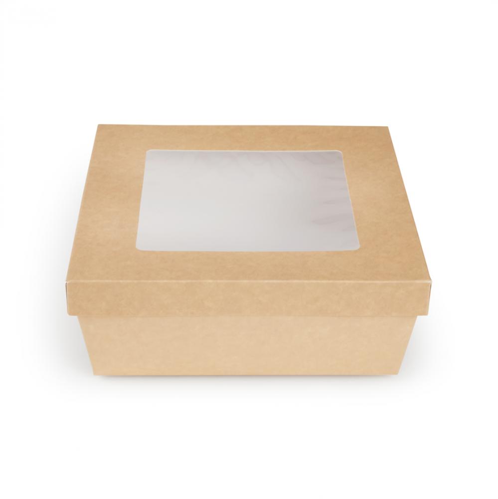 Scatole kray per sushi e dolci con finestra colore avana - ingrosso b2b online vendita per professionisti - 225x225x80mm