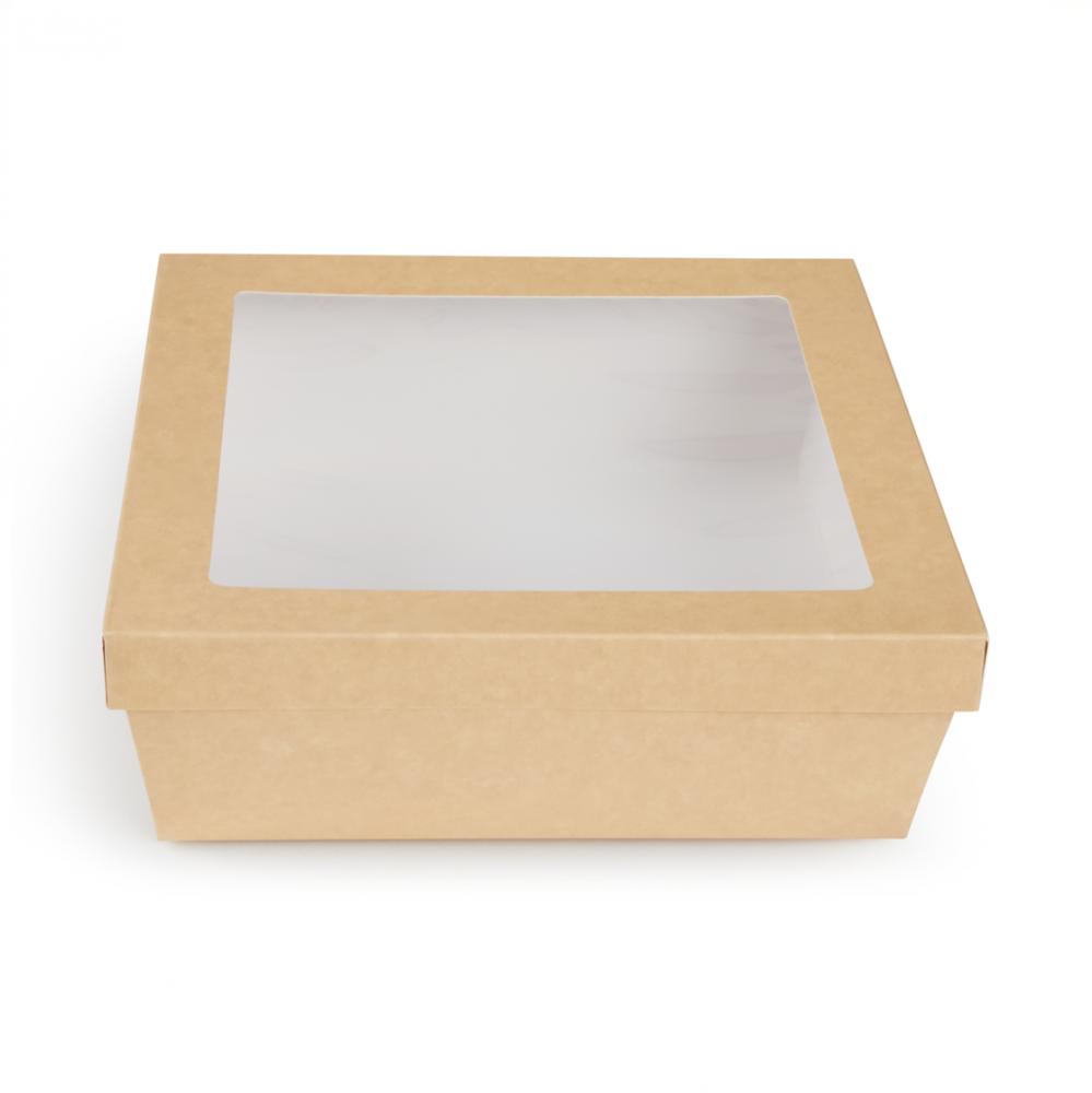 Scatole kray per sushi e dolci con finestra colore avana - ingrosso b2b online vendita per professionisti - 244x244x80mm
