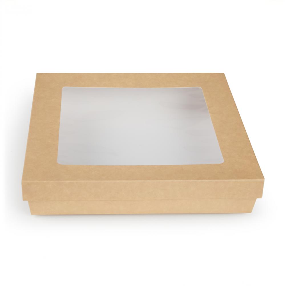 Scatole kray per sushi e dolci con finestra colore avana - ingrosso b2b online vendita per professionisti - 265x265x50mm