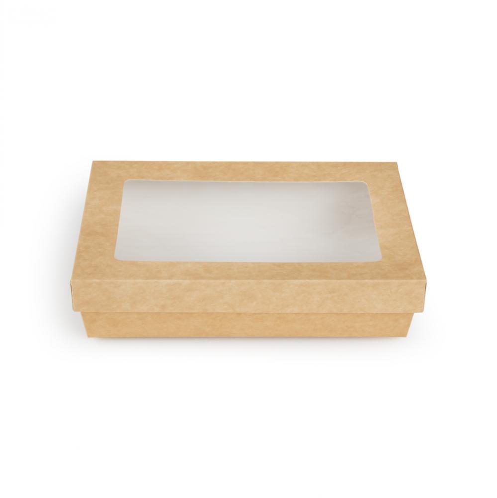 Scatole kray per sushi e dolci con finestra colore avana - ingrosso b2b online vendita per professionisti - 255x155x50mm