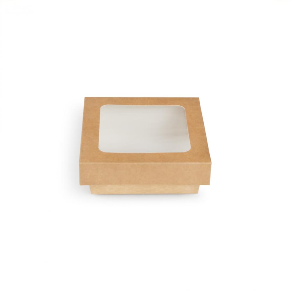 Scatole kray per sushi e dolci con finestra colore avana - ingrosso b2b online vendita per professionisti - 135x135x50mm