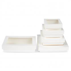 Scatole Kray in cartoncino bianco con coperchio a finestra trasparente per sushi e biscotti ingrosso online b2b gruppo