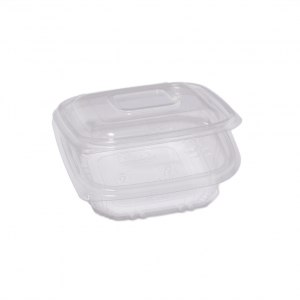 Vaschetta trasparente in PP con coperchio incernierato  - vendita online all'ingrosso b2b - 250cc