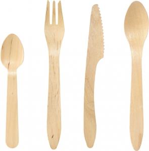 Posate in Legno Cerato per asporto e take away - forchetta cucchiaio coltello cucchiaino - vendita online all'ingrosso