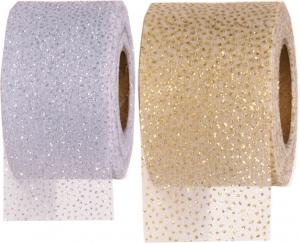 Nastro in tulle glitter puntinato- Disponibili in avorio e bianco. vendita all'ingrosso e on-line