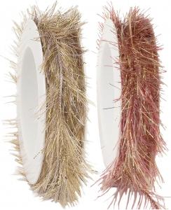 Cordino lurex con frange, disponibili in bianco oro e rosso oro-Vendita all'ingrosso online