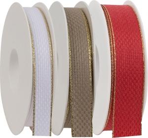 Nastro in tela con bordo oro. Disponibili in bianco, rosso e tortora. Vendita all'ingrosso online