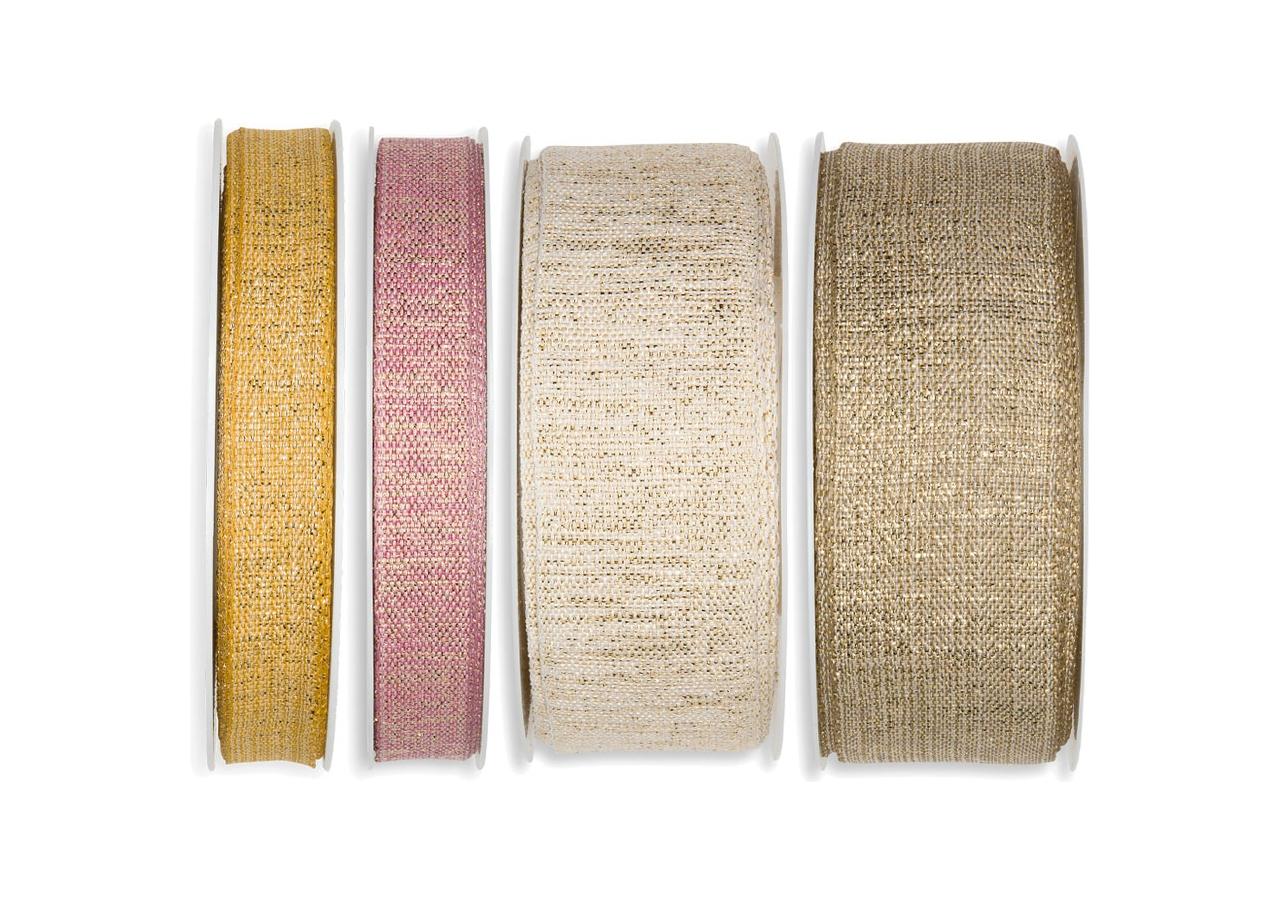 Nastro in tessuto lurex oro, disponibile in più colori, in due altezze. Vendita all'ingrosso online