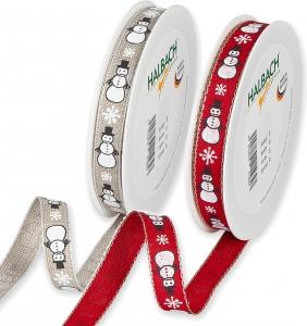 Nastro in tela con fantasia pupazzi di neve, disponibile in rosso ed ecrù- Vendita all'ingrosso e online