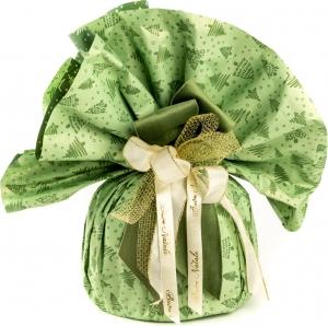 Tondi in polipropilene bicolor verde con stampa alberelli. Confezione da 10 pezzi. Vendita all'ingrosso e online