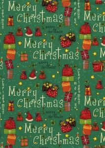 Carta regalo con stampa pacchi regalo, sfondo verde. Vendita all'ingrosso e online