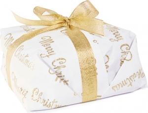 Carta da regalo glitterata bianca con scritte oro, confezione da 10 fogli. Vendita all'ingrosso e online