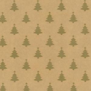 Carta regalo kraft pini oro. Disponibile in bobina e in confezione da 25 fogli 100x70cm