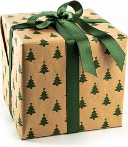 Carta regalo kraft con stampa alberelli verdi. Disponibile in bobina e a fogli. Vendita all'ingrosso e online.