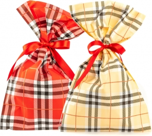 Buste regalo scozzese, disponibile in rosso e crema. Vendita all'ingrosso e online