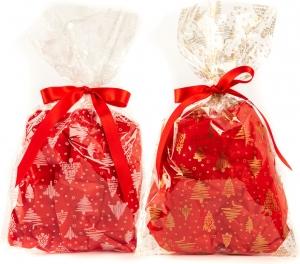 Buste da regalo con fantasia alberell, disponibile in traspartente con stampa oro e bianco. Vendita all'ingrosso e online