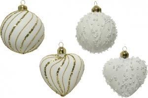 Sfera natalizia in vetro con perline