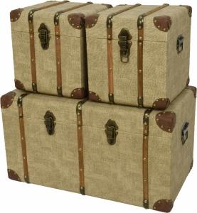Baule in pelle con maniglie e interno in legno