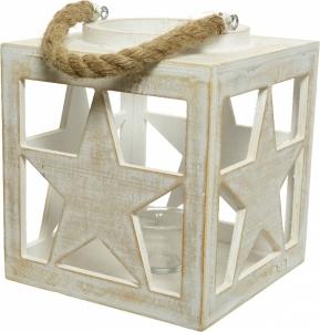 Lanterna di legno con decoro stelle