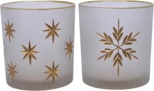 Porta tealight in vetro decorato