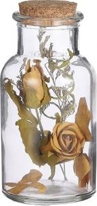 Bottiglietta in vetro con fiori secchi gialli 14cm