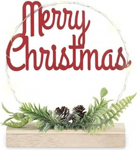 Cerchio merry christmas con led