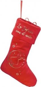 Calza in velluto rossa con scritta oro