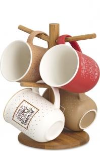 Supporto in legno con 4 mug