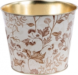 Vasetto con fiori in latta beige