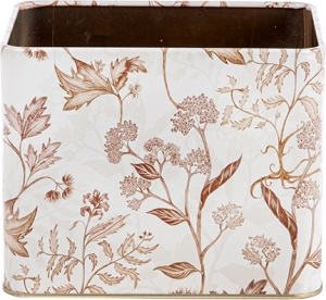 Vasetto rettangolare con fiori beige