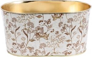 Vasetto ovale con fiori in latta beige
