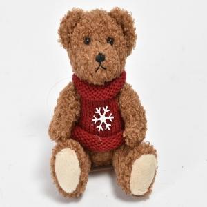 Osetto marrone con maglione e fiocco