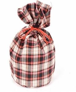 Sacchetto in tessuto fantasia scozzese rosso e bianco
