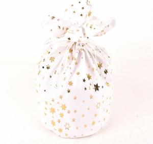 Sacchetto in velluto con stelle dorate bianco