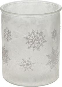Porta candele fiocchi di neve in vetro