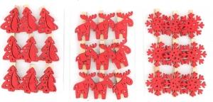 Mollettine natalizie rosse (12 pezzi)
