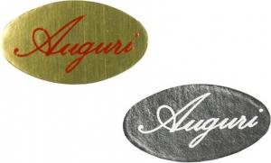 Etichette stampate con scritta Auguri in rosso e bianco. Vendita all'ingrosso e online
