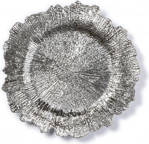 Piatto design argentato in plastica