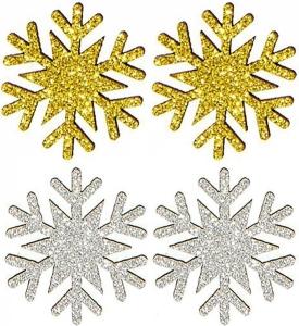 Fiocchi di neve glitterati  oro (12 pezzi)