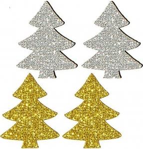Alberelli glitterati oro (12 pezzi)
