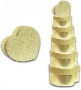 Scatola a forma di cuore glitter dorata