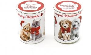 Porta candele di natale con cane e gatto