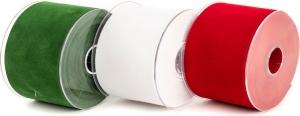 Nastro in velluto, disponibile in rosso, bianco e verde. Vendita all'ingrosso e on-line