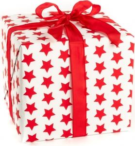 Carta da regalo stampa stelle rosse in confezione da 25 fogli