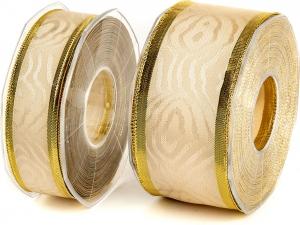 Nastro in tessuto fantasia con bordo in oro. Disponibile in due altezze. Vendita all'ingrosso e online
