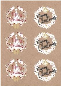 Etichette Merry Christams mix in confezione da 60 pezzi. Vendita all'ingrosso e online