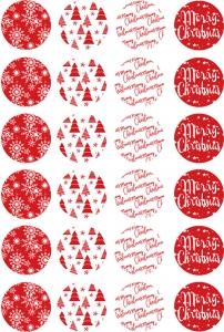 Etichette Merry Christmas mix rosse in confezione da 240 pezzi. Vendita all'ingrosso e online
