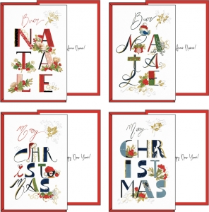 Biglietto Natale con lettere decorate. Vendita all'ingrosso e online