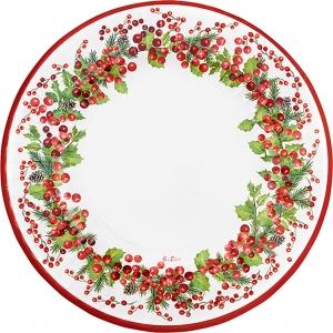 Maxi piatti in carta con fantasia bacche rosse. Confezione da 6 pezzi. Vendita all'ingrosso e online